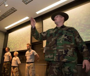 Fit for Society performers share anecdotes focusing the military experience. (USC Photo/Andrew Taylor)