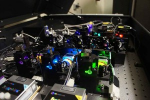 Under the hood of the OMX are six different colored lasers. (USC Photo/Robert Perkins)