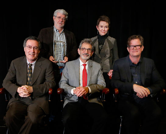 Bruce Block, George Lucas, Michael Fink, Dean Elizabeth Daley and Alex McDowell, from left (USC Photo/Steve Cohn)