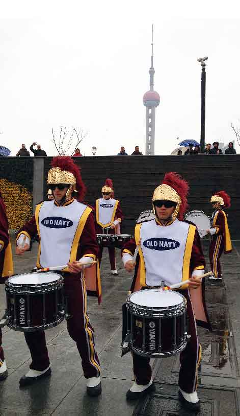 Members of the USC Trojan Marching Band drumline perform in Shanghai. (Photo/courtesy of USC Alumni Club of Shanghai)