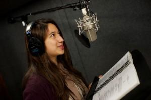 USC senior Grace Dewson in voice-over class
