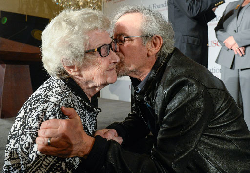 Holocaust survivor Mira Becker and USC Trustee Steven Spielberg (USC Photo/Gus Ruelas)