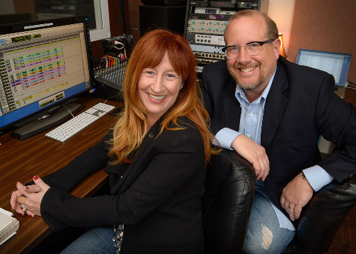 Vicki Lewis and Phil Allen in recording studio