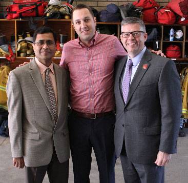 From left, Jatin Shah, Jode Lebeda and  Glenn Ault (USC Photo/Jon Nalick)
