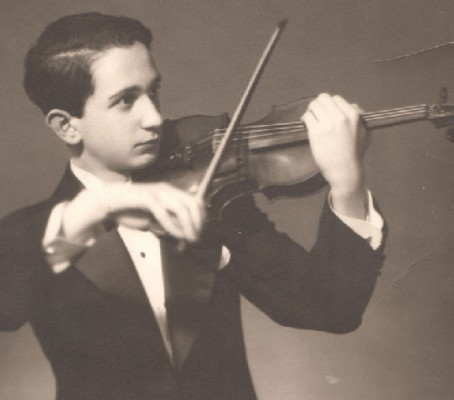 young Peter Berton as violinist