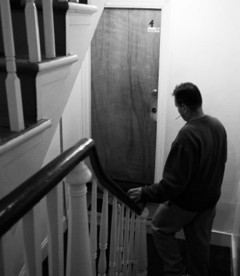 man in stairwell