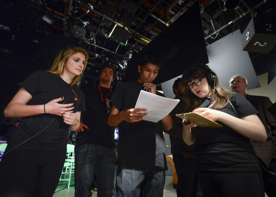Students discuss camera angles for Comedy@USC.