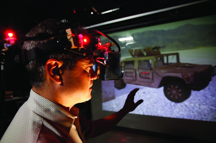 At USC's MxR Lab, Mark Bolas explores the possibilities of virtual reality and open-source tech.  (Photo/ Al Seib for Los Angeles Times)
