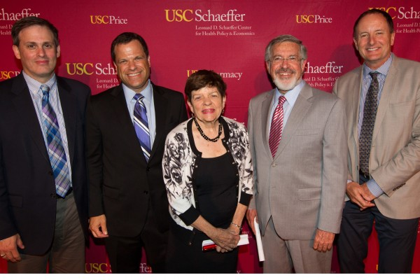 Michael Chernew, Dana Goldman, Alice Rivlin, Leonard D. Schaeffer and James Robinson, from left (Photo/Peter Grigsby)
