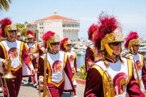 Trojan Marching Band performs in Avalon.