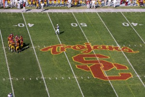 Trojan football on field