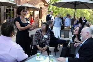 Michelle Levander with journalists