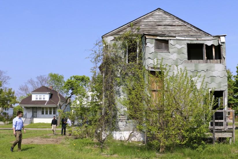 Students Leeron Regev, Dylan Jones, Jonathan Azarkman and Shlomi Sfadia explore the area around an abandoned home.
