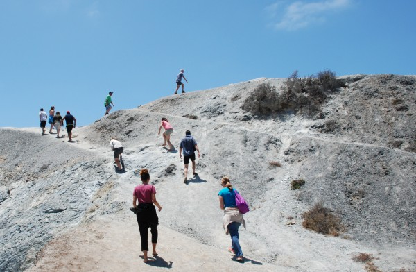 Students hiking uphill