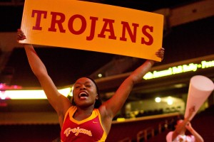 Song Girl holds Trojans sign.