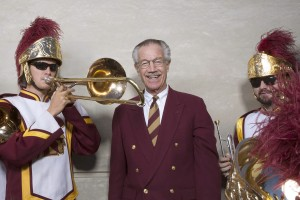 Arthur Bartner with Trojan Marching Band members