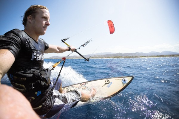 Farro catches some waves kite surfing in Mexico. (Photo/courtesy of Caleb Farro)