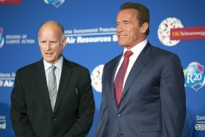 Schwarznegger and Jerry Brown in Sacramento