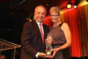 Puliafito with Garrett and academic leadership award