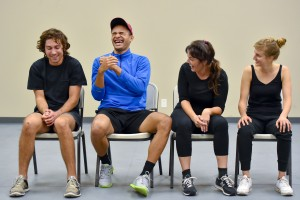 MFA students Raul Bencomo, Ryan Holmes, Courtney Lloyd and Philippa za Knyphausen, from left, laugh in turn during an exercise in medical clowning. (USC Photo/Gus Ruelas)