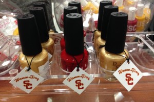 OPI's two new shades of nail lacquer, Trojan Fever and We pLAy for the Gold, are available at the USC Bookstore. (USC Photo/David Medzerian)