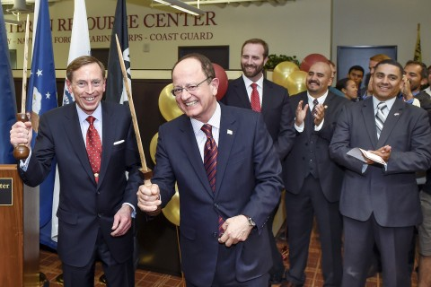 Grand opening celebration of the USC Veterans Resource Center, Army Gen. David Petraeus, President C.L. Max Nikias,