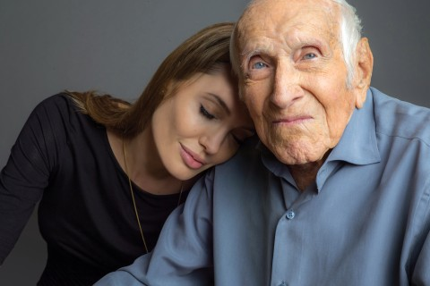 Angelina Jolie and Louis Zamperini in 2014,