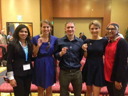 The winning Disease Diagnostic Group team holding the microfluidic chip design. From left to right, Ilesha Sevak, Alexa Hudnut, John Lewandowski, Samantha McBirney and Fareeha Safir (Photo/USC Viterbi)