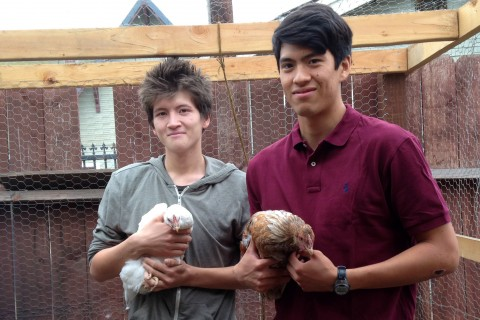 USC students holding chickens