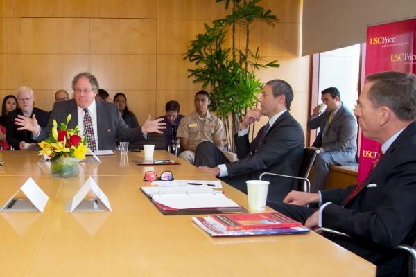 General Petraus discusses China's political reforms with USC Price Professor Erik Heikkila, USC Dornsife College Professor David Kang and USC U.S.-China Institute Director Clayton Dube.