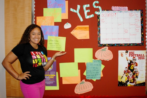Hammouri-Davis uses her creative skills to make amusing bulletin boards for the residents she serves. (USC Photo/Susan Bell)