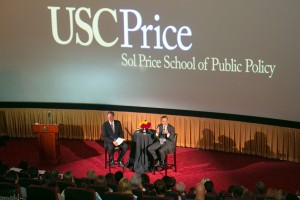 USC Trustee Rick Caruso with Price Dean Jack Knott.