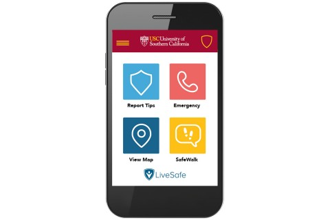 The USC Trojan Mobile Safety App, powered by LiveSafe Inc., has versions for iPhone and Android devices. (USC Photo)