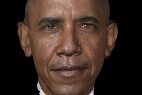 3-D model of the president Obama's face created using ICT technology.