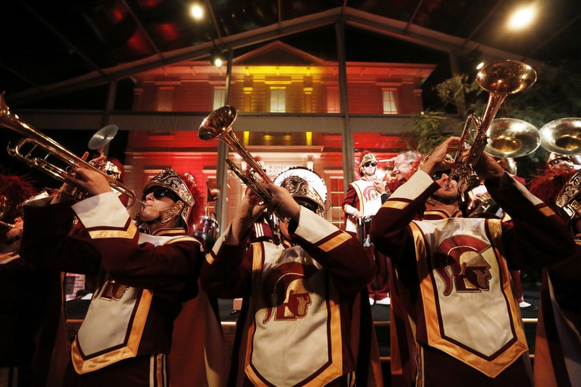 The Trojan Marching Band performs at the 2014 Widney Society gala. (USC Photo)