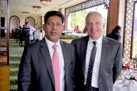 Boeing India President Pratyush Kumar, left, with Yannis C. Yortsos in India (Photo/courtesy of USC Viterbi)