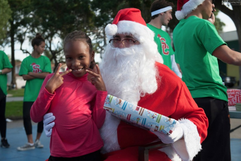 Santa giving out presents