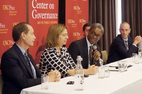 Rick Cole, Ann Sewill, Raphael Bostic, Ethan Elkind and Mott Smith, from left (USC photo/Deirdre Flanagan)