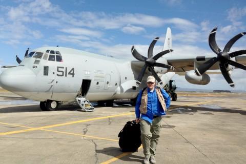 Ben Hemingway leaves plane