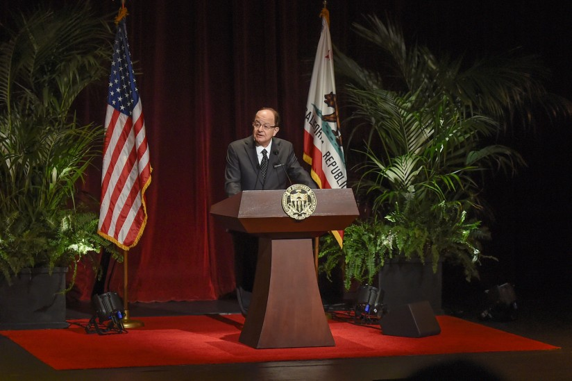USC President C.L. Max Nikias, delivers his address to the staff 2015