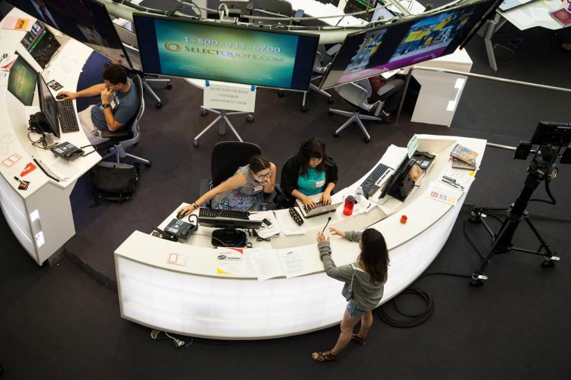 USC Annenberg master control room for Annenberg TV News in Wallis Annenberg Hall.