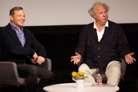 Bob Iger, left, and Graydon Carter at the USC Annenberg,media managers,