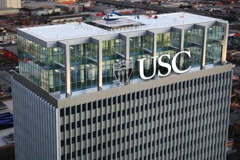 The USC name will go atop the AT&T Center in downtown LA later this year. (Artist's rendering by Sheharazade Fleming/USC)