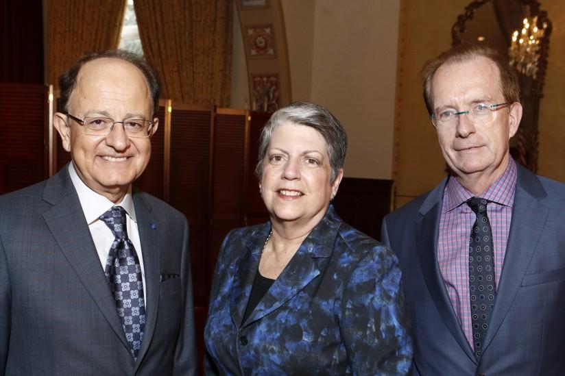 USC President C. L. Max Nikias, University of California President Janet Napolitano and Pullias Co-Director William G. Tierney.