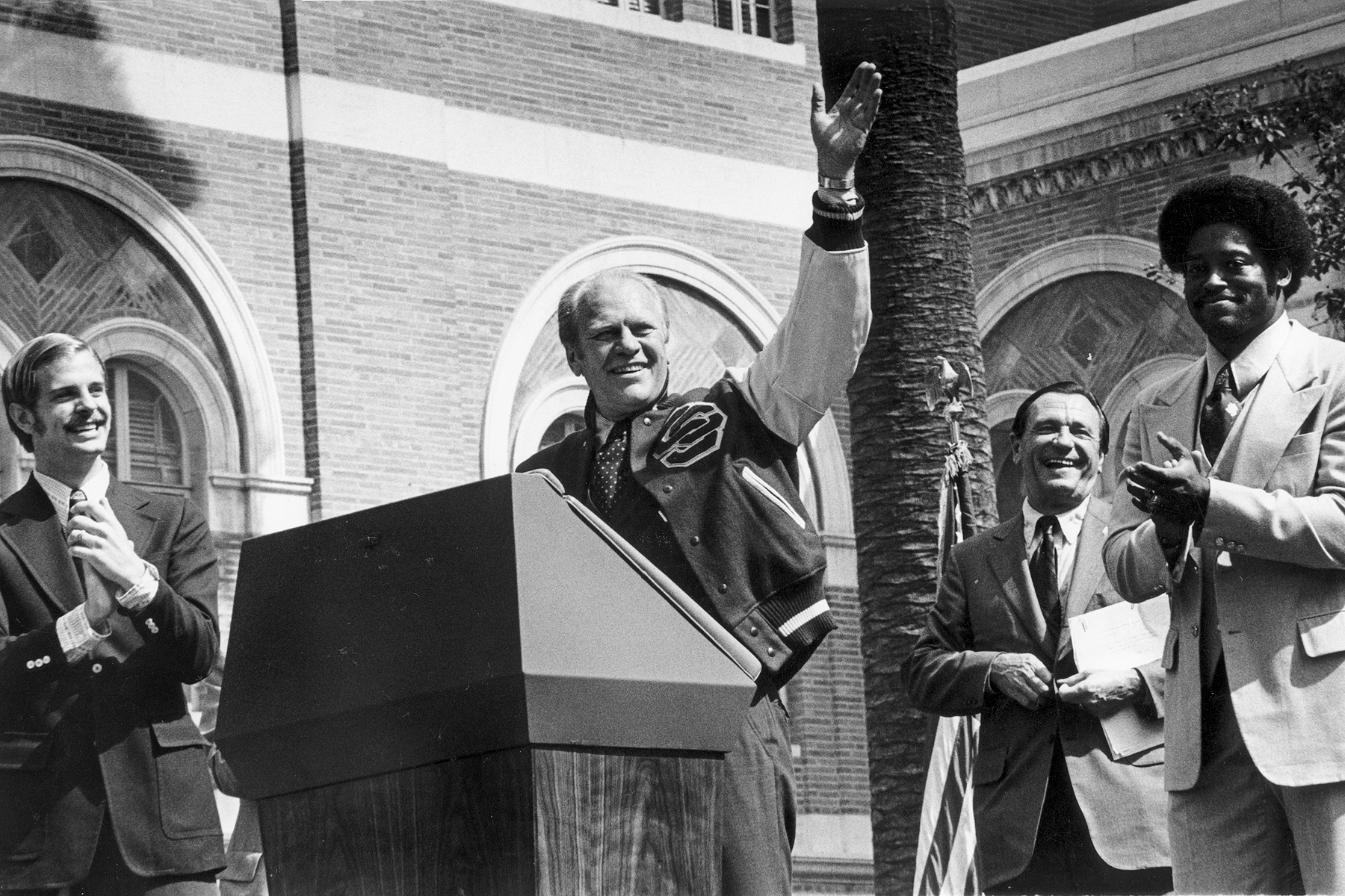 Gerald R. Ford, 38th president of the United States, makes a campaign visit to USC