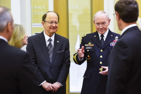 USC President C. L. Max Nikias and Gen. Martin Dempsey