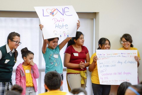 Elementary school children from the present during the Community Partnerships' Penny Harvest Leadership Academy, Tuesday, March 10, 2015. USC Photos/Gus Ruelas