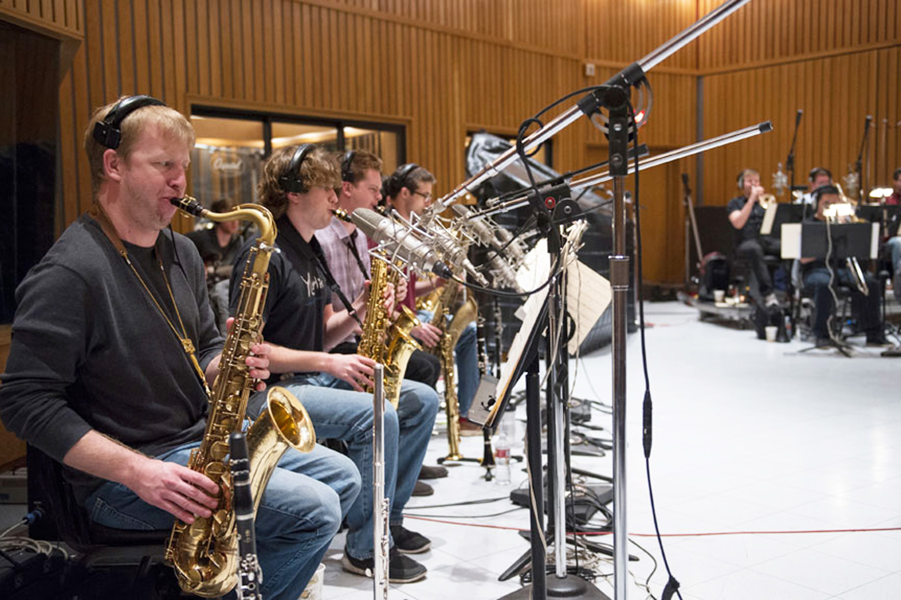 The USC Thornton Jazz Orchestra recording at Capital Records 'Studio A'