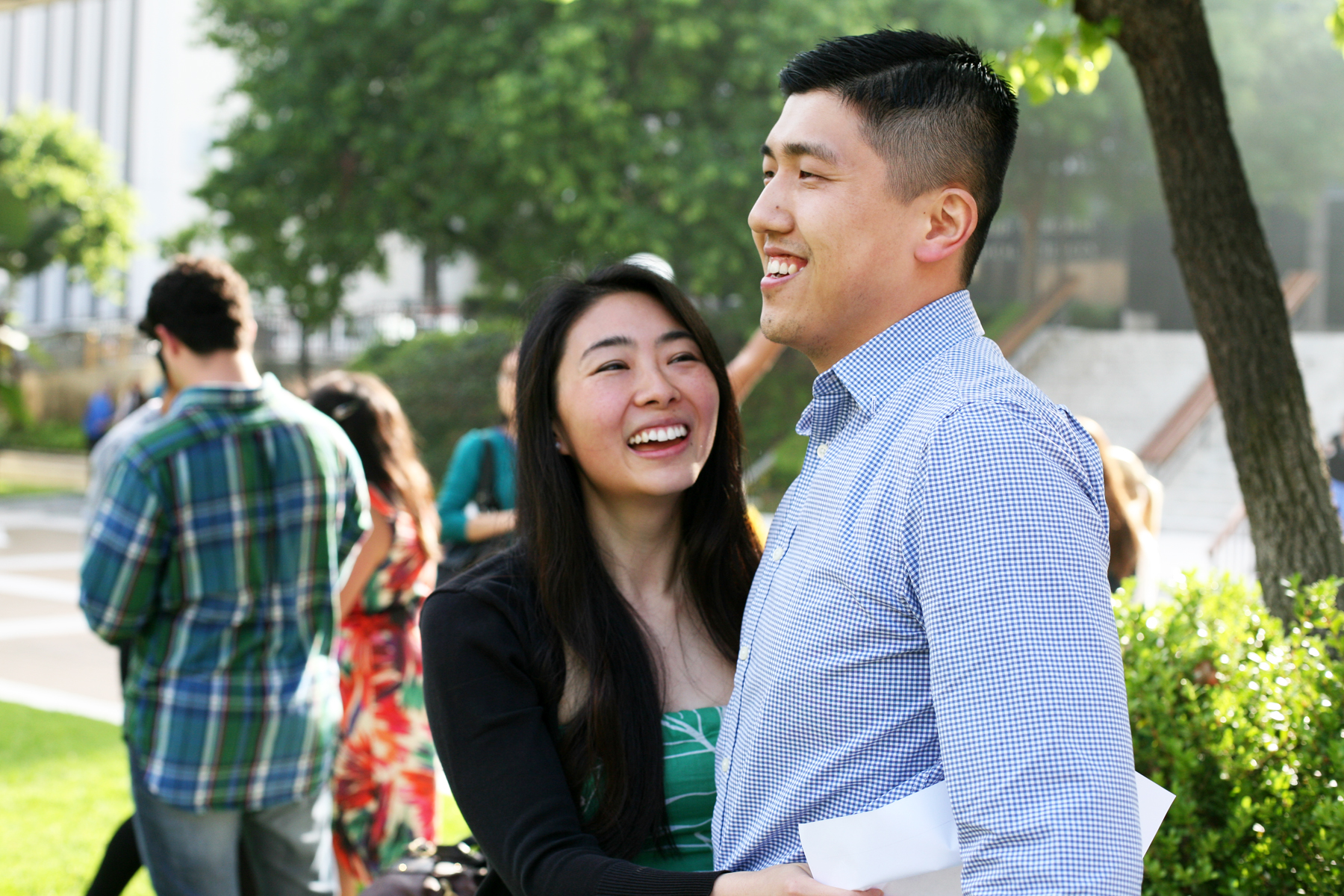 Medical students Lynn Ngai and Phil Wu, who met as first-year students and are planning to marry after graduation, celebrate: They're both headed to Stanford University Medical Center. (USC Photo/Les Dunseith)