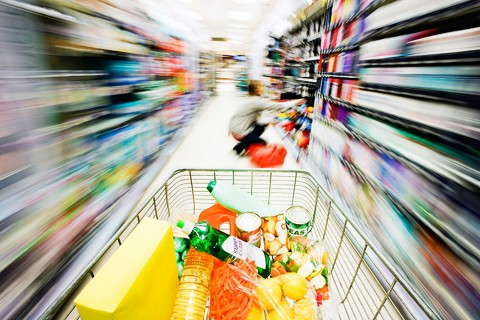 Grocery store, shopping cart,